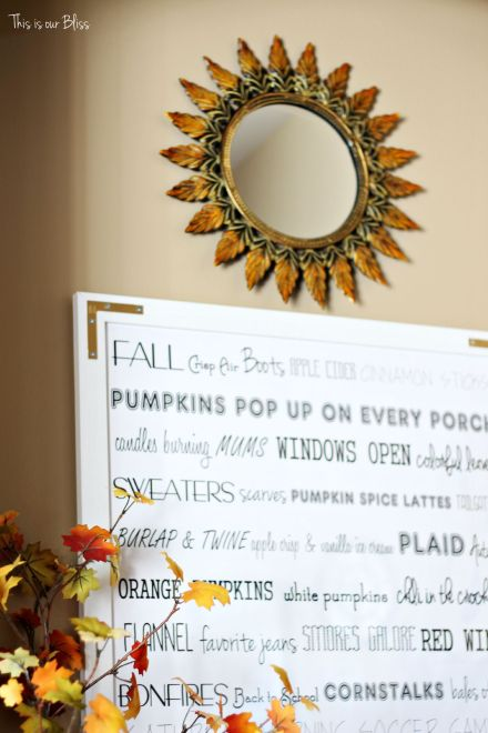 Fall entryway - fall vignette - DIY word art - fall decor - This is our Bliss