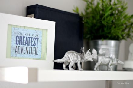 framing greeting cards as art - baby room shelf - art display - gallery wall - little boy nursery - You are our greatest adventure - This is our Bliss