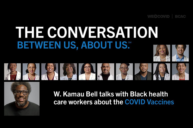 Video still that reads: The Conversation Between Us. About Us.