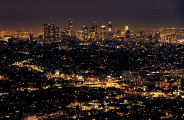 View of the city of LA at night