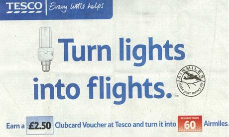 Tesco advert that says: turn lights into flights
