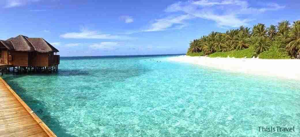 Water bungalows en Maldivas junto a playa paradisíaca y aguas cristalinas