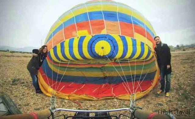 preparando el globo para volar