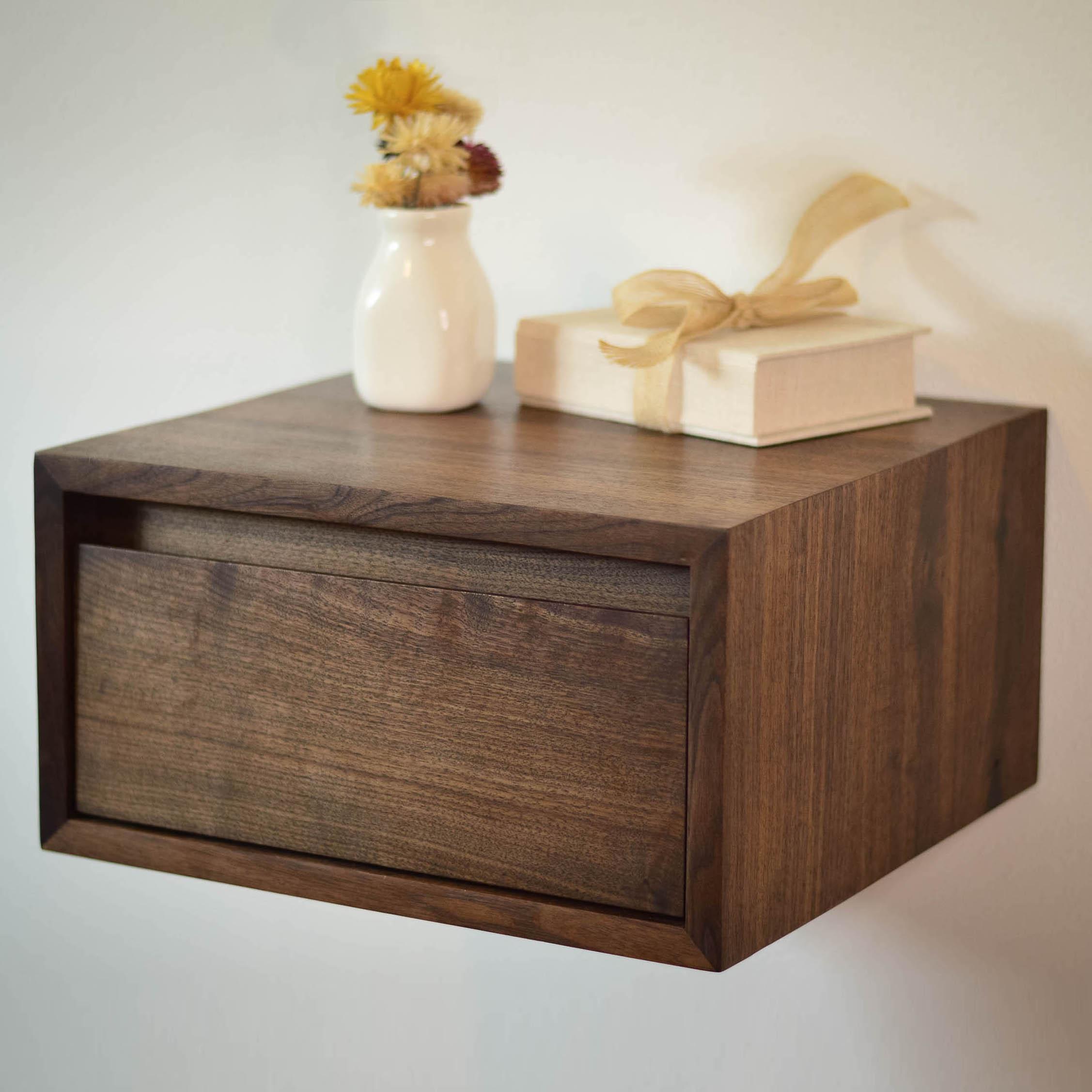 Lenora Floating Walnut Side Table