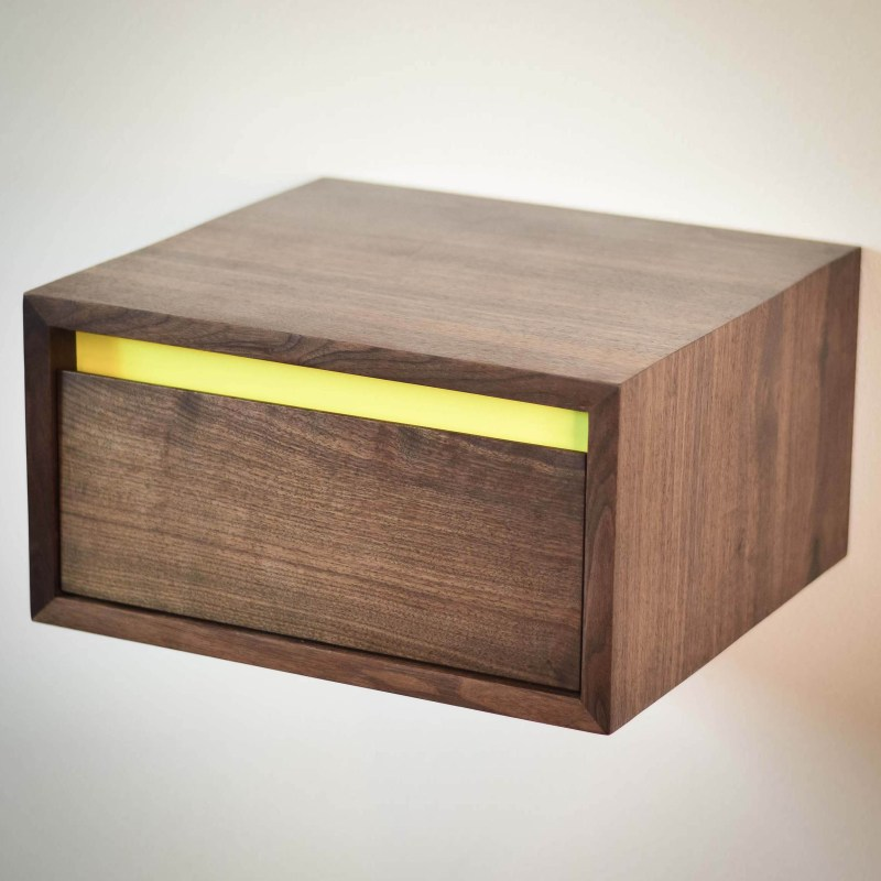 Floating walnut side table or night stand with lemon yellow accent