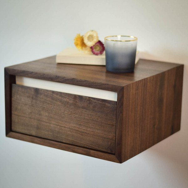 Floating walnut side table or night stand with white accent