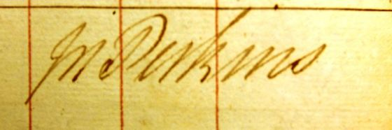 Jack Perkins signature from one of his ship's log books.