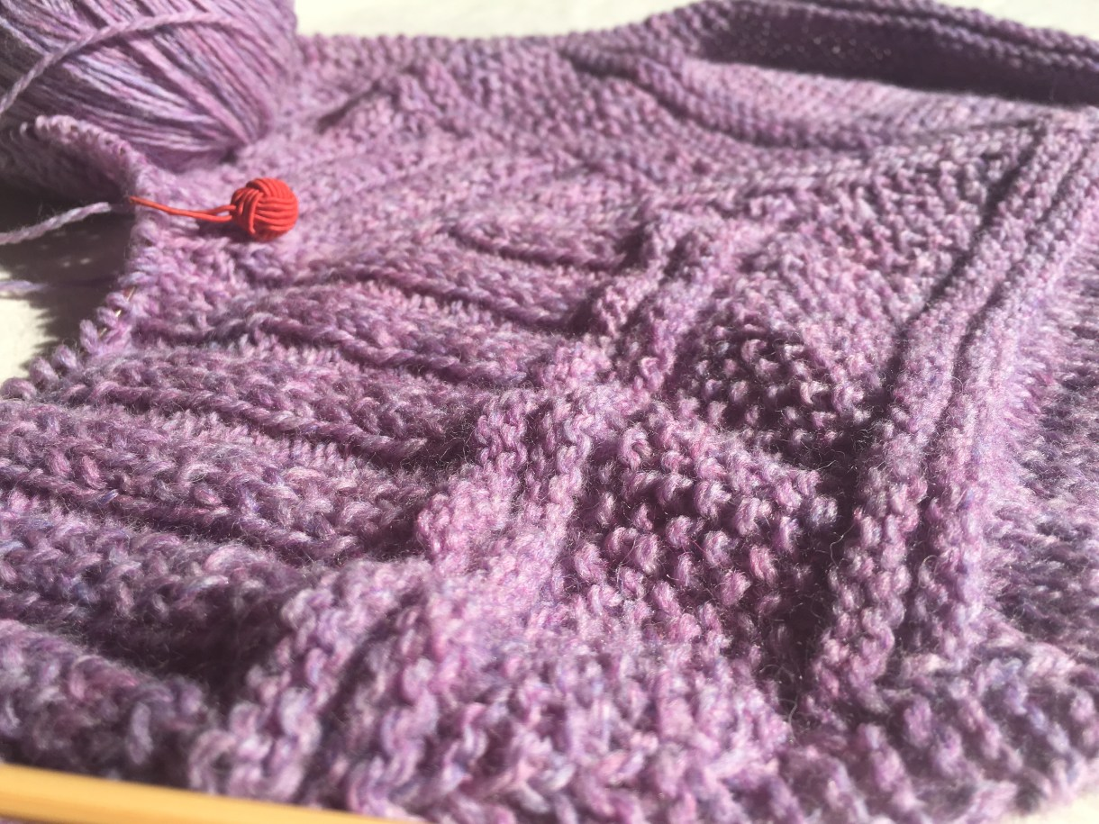Architexture scarf in progress. Very cool and affordable knitting kit from Craftsy.