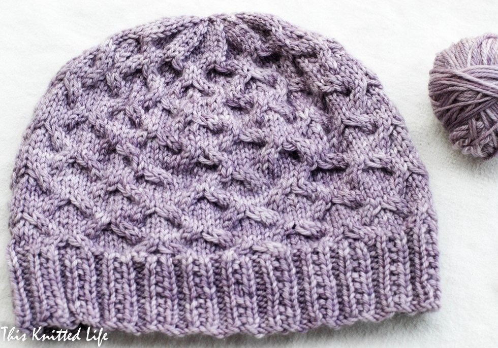 A warm winter hat in Madelinetosh Pashmina Worsted (Sugar Plum).