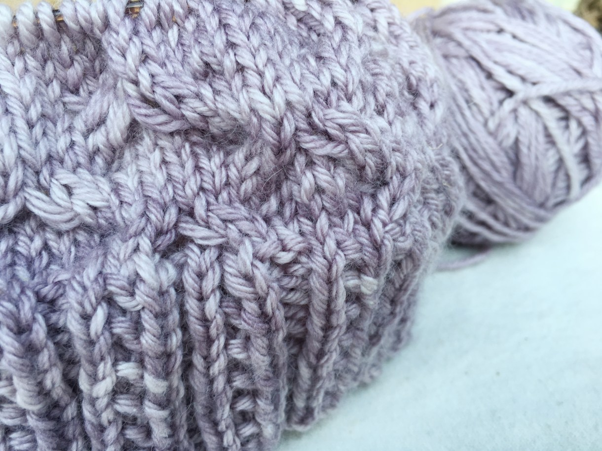 Knitting a hat with Madelinetosh Pashmina Worsted in Sugar Plum.
