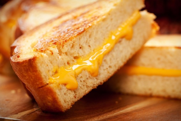 Toasted crispy on the outside, chewy on the inside hot grilled cheese sandwiches