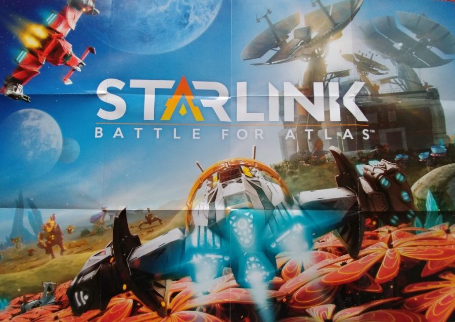 Front side of Starlink poster featuring ship
