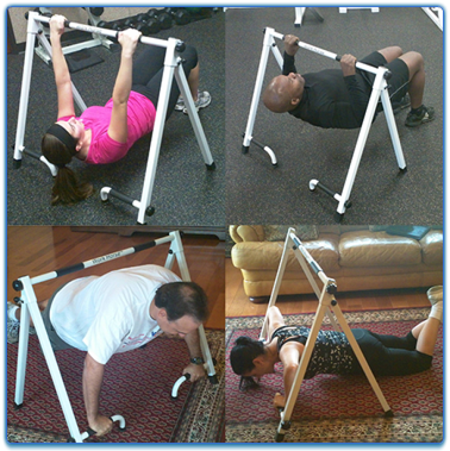 Collage of men and women doing pushups and pull-ups
