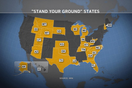 "A map of states with ""stand your ground"" laws, courtesy the NRA."