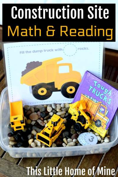 Construction Site Sensory Activity: Math and Reading