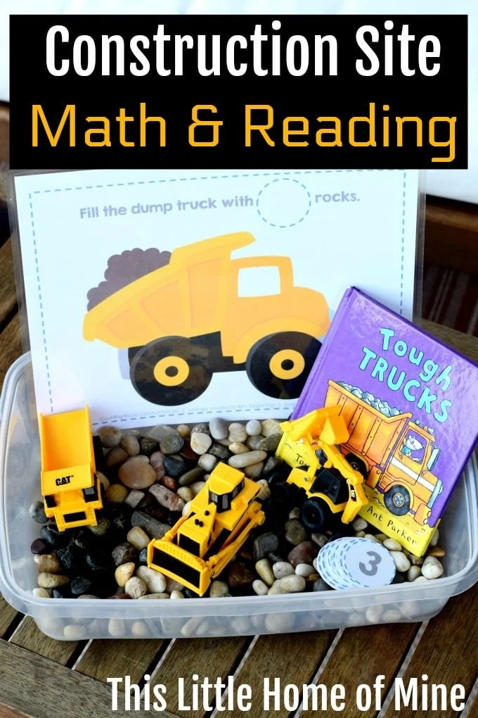 Construction Site Sensory Activity: Math and Reading - This Little ...