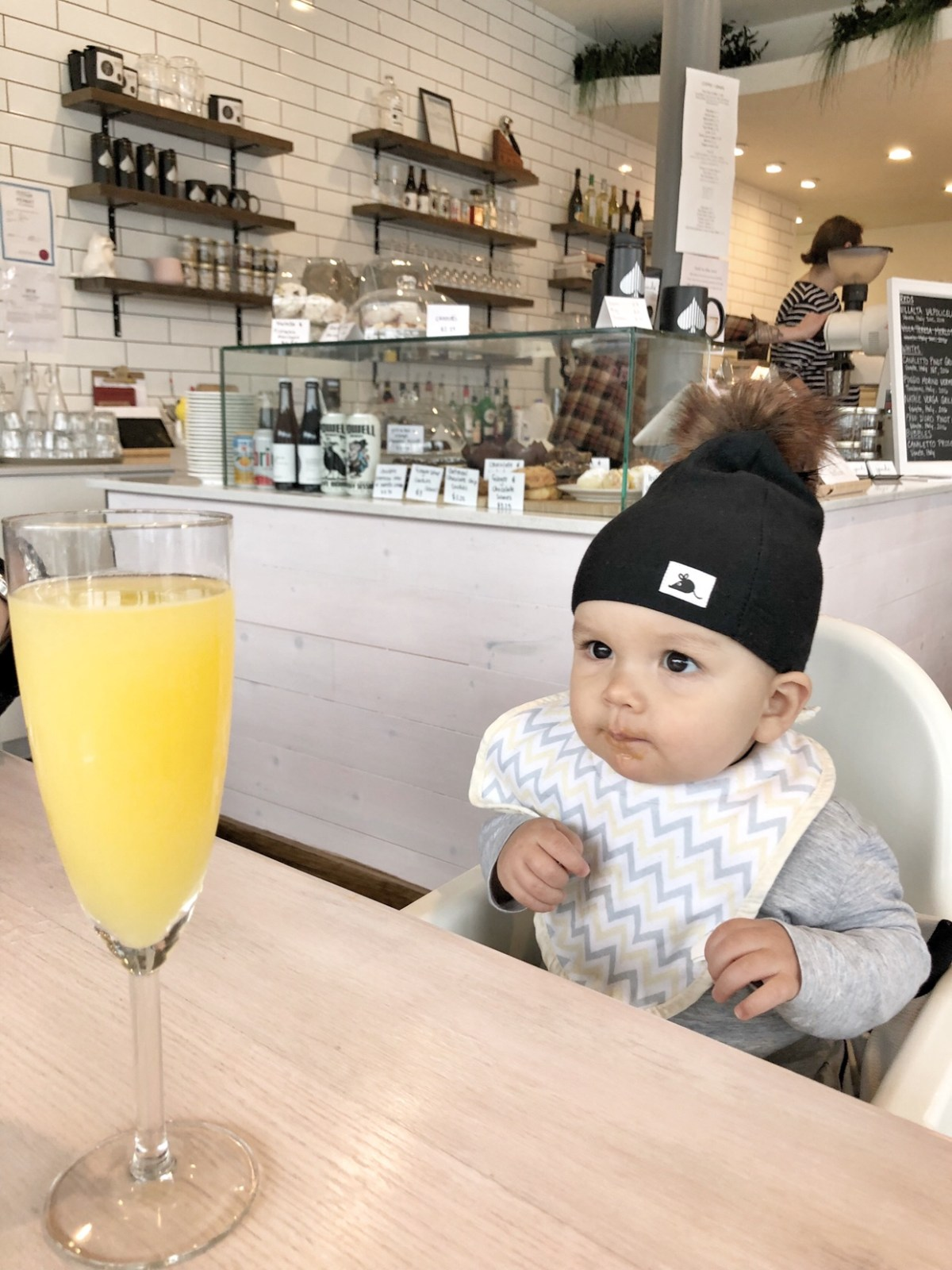 10 month old baby with mimosa