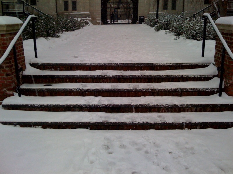 Silliman courtyard stairs in snow