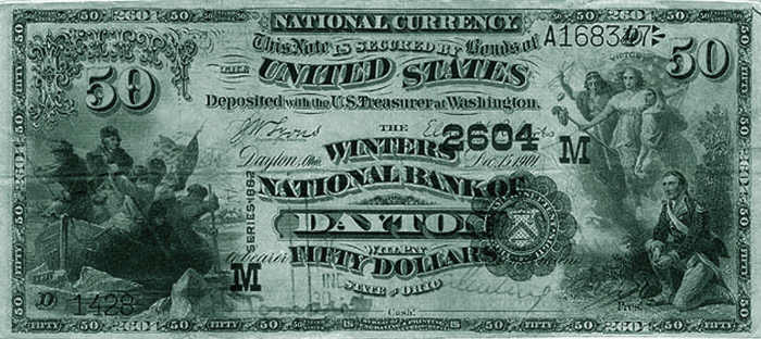 National bank note, Winters National Bank of Dayton, Ohio, printed in 1901.