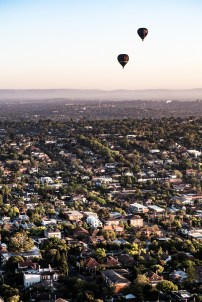 Over the suburbs to the north