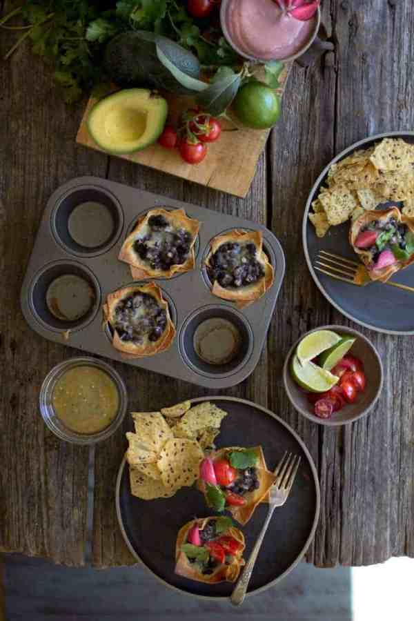 Crispy Black Bean Taco Cups | An easy and delicious weeknight meal that comes together in about 30 minutes! | @thismessisours