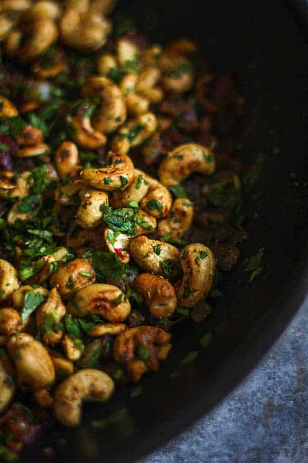 {Giveaway} Coriander and Lime Scented Cashews recipe || This snack is super easy to make with minimal ingredients. || @thismessisours with @akcookware #glutenfree #vegan #ACoupleAdopts