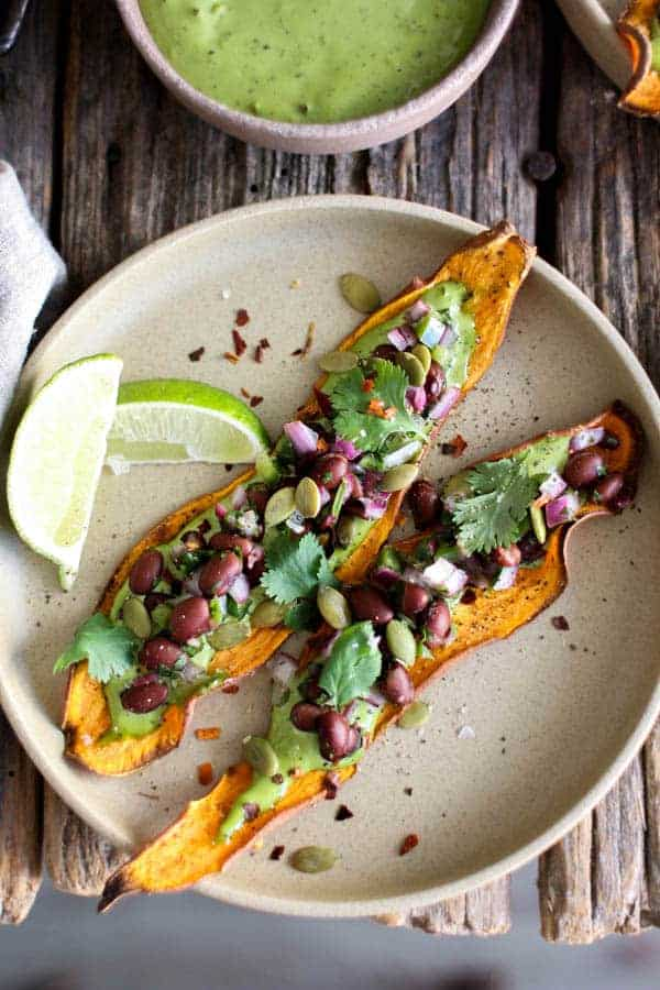 Sweet Potato Toast with Avocado & Black Bean Salsa recipe || Salty, sweet, with a little kick! This version of sweet potato toast has it all. || @thismessisours @litehousefoods #glutenfree #vegetarian #sponsored