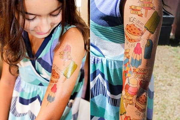 How To Print Your Own Temporary Ice Cream Tattoos || @holajalapeno 's daughter really committed to the temporary tattoos! || @thismessisours #friendswhofete