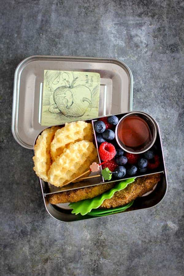 Chicken & Waffle Lunch Box recipe || with gluten free options. || @thismessisours #lunchbox