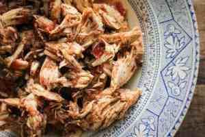 Shredded Oven Baked Salsa Chicken in Bowl
