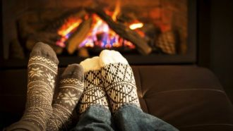 Hygge and being cozy and content by the fire