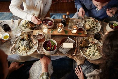 Hygge comfort of friends and family