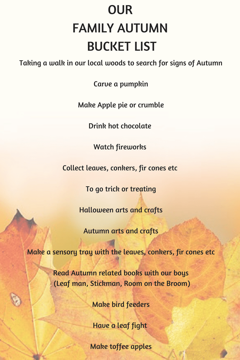 our family autumn bucket list