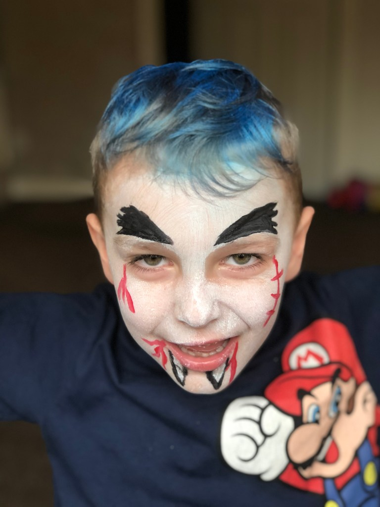 Vampire halloween face paint for kids