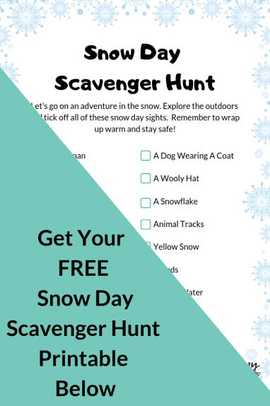 snow day scavenger hunt printable