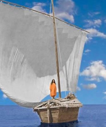 Man in orange robes on sail boat calm lake
