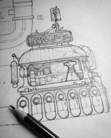 Sketching some sci-fi scenery for a commission.