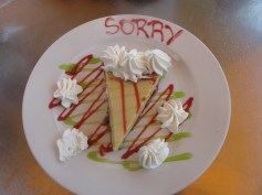 The waiter got creative with his apology for a mishap at the table in Key West, Florida