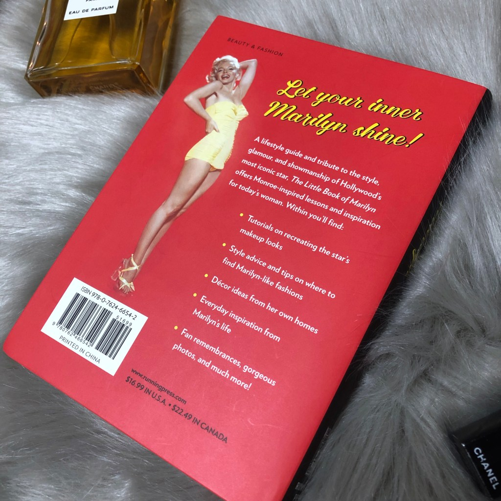 The little book of Marilyn back cover lists bullet points: Tutorials, style advice, decor, fan remembrances, and more!