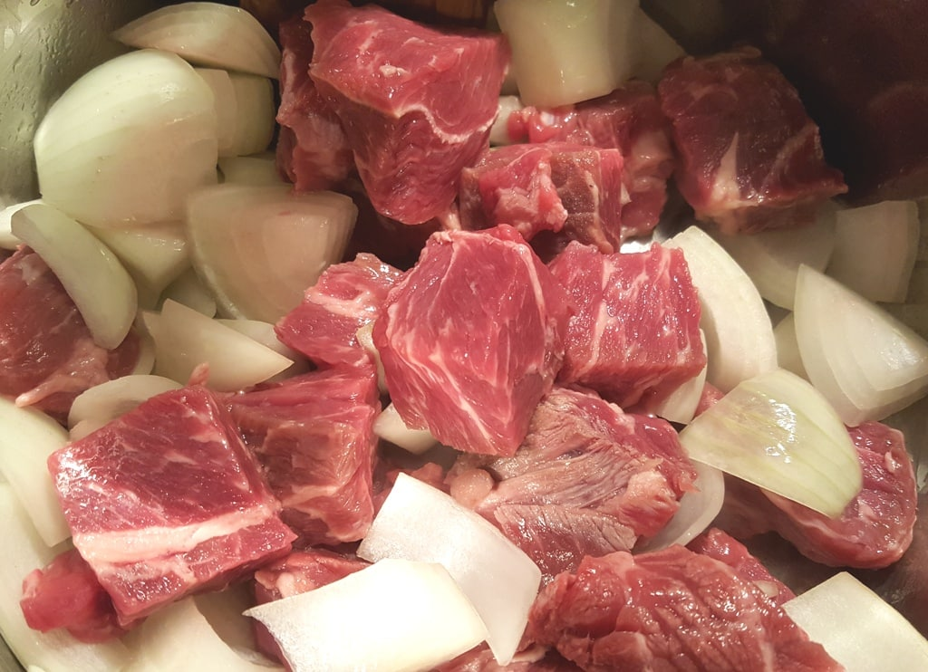 Add Onion and Beef to Pressure Cooker