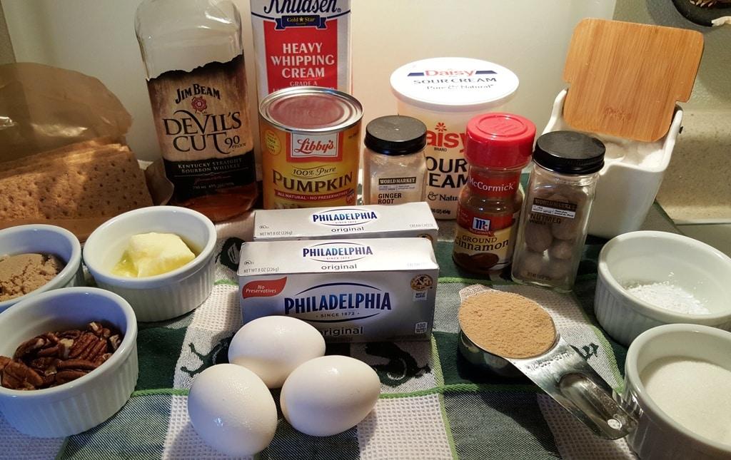 Cast of Ingredients for Instant Pot Bourbon Pumpkin Pie Cheesecake (Pake)