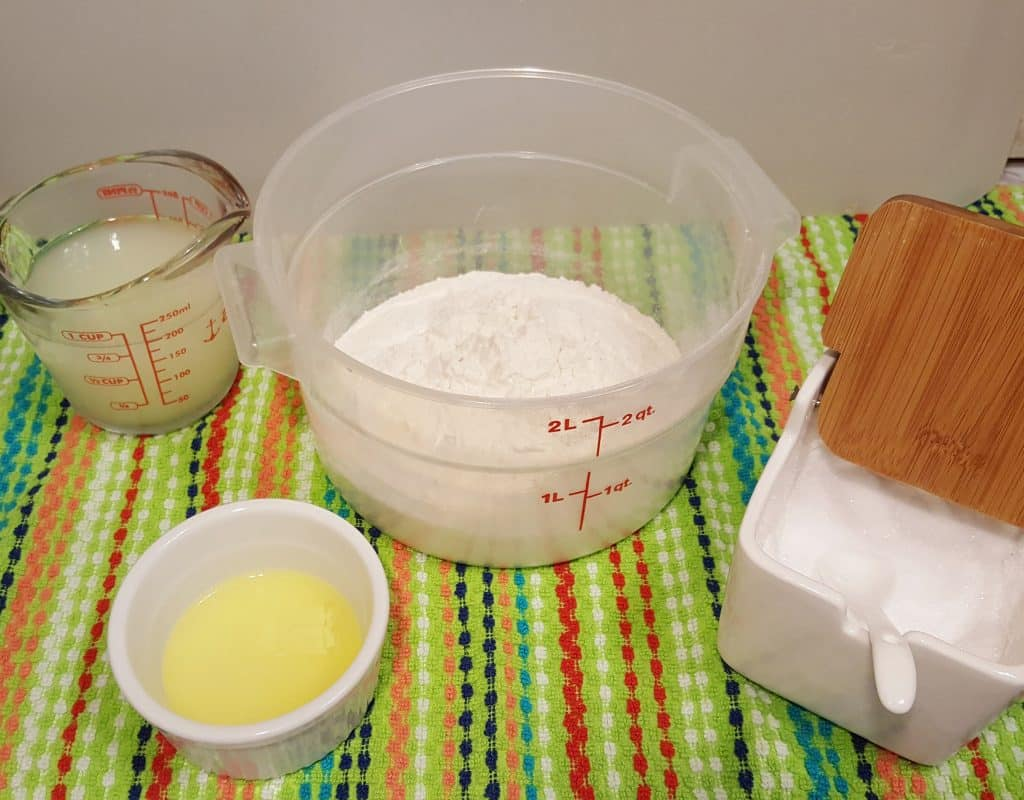 Cast of Ingredients for Instant Pot Yogurt Whey Chapati Chappathi