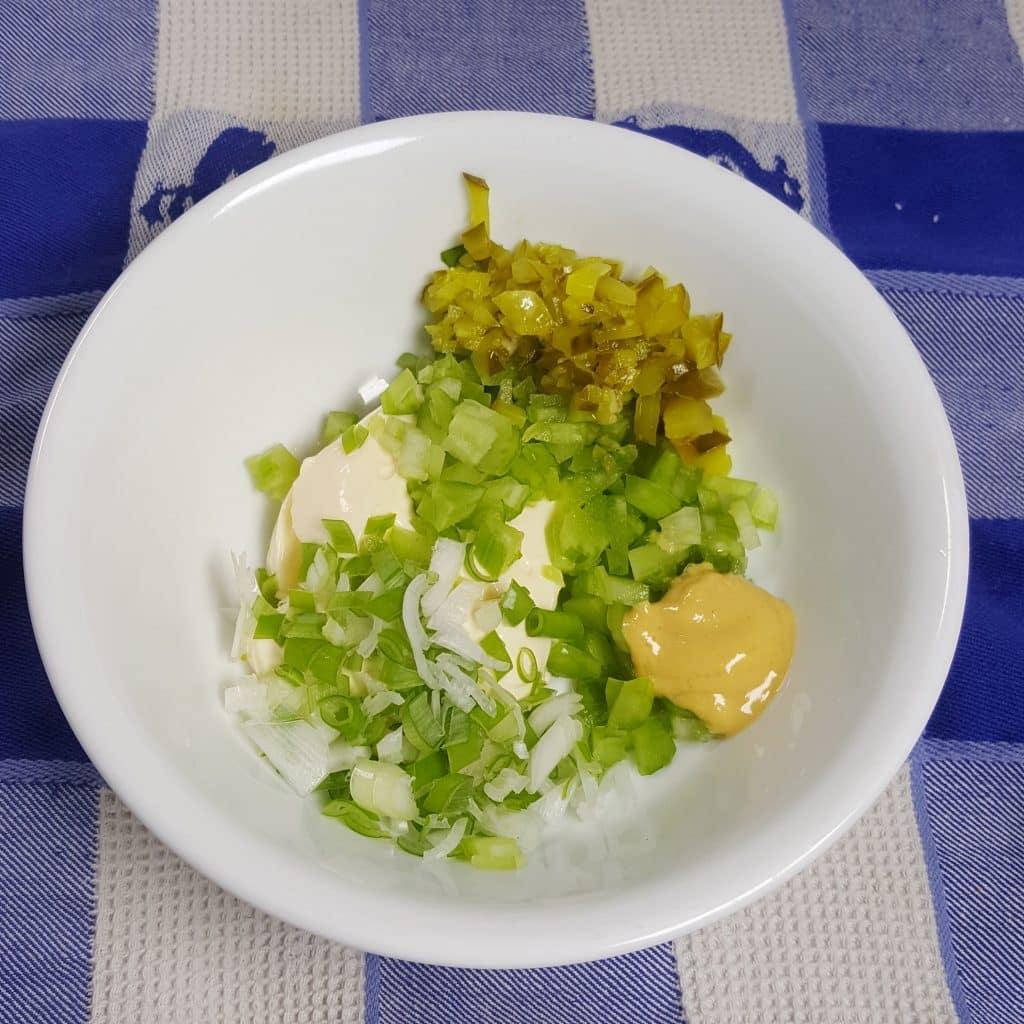 Prepare the Deviled Egg Salad Dressing