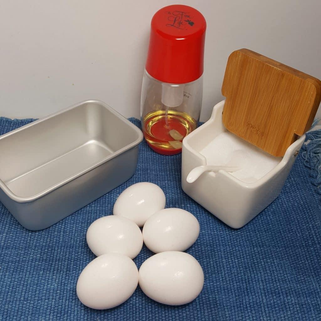 Cast of Ingredients for Pressure Cooker Hard Boiled Egg Loaf