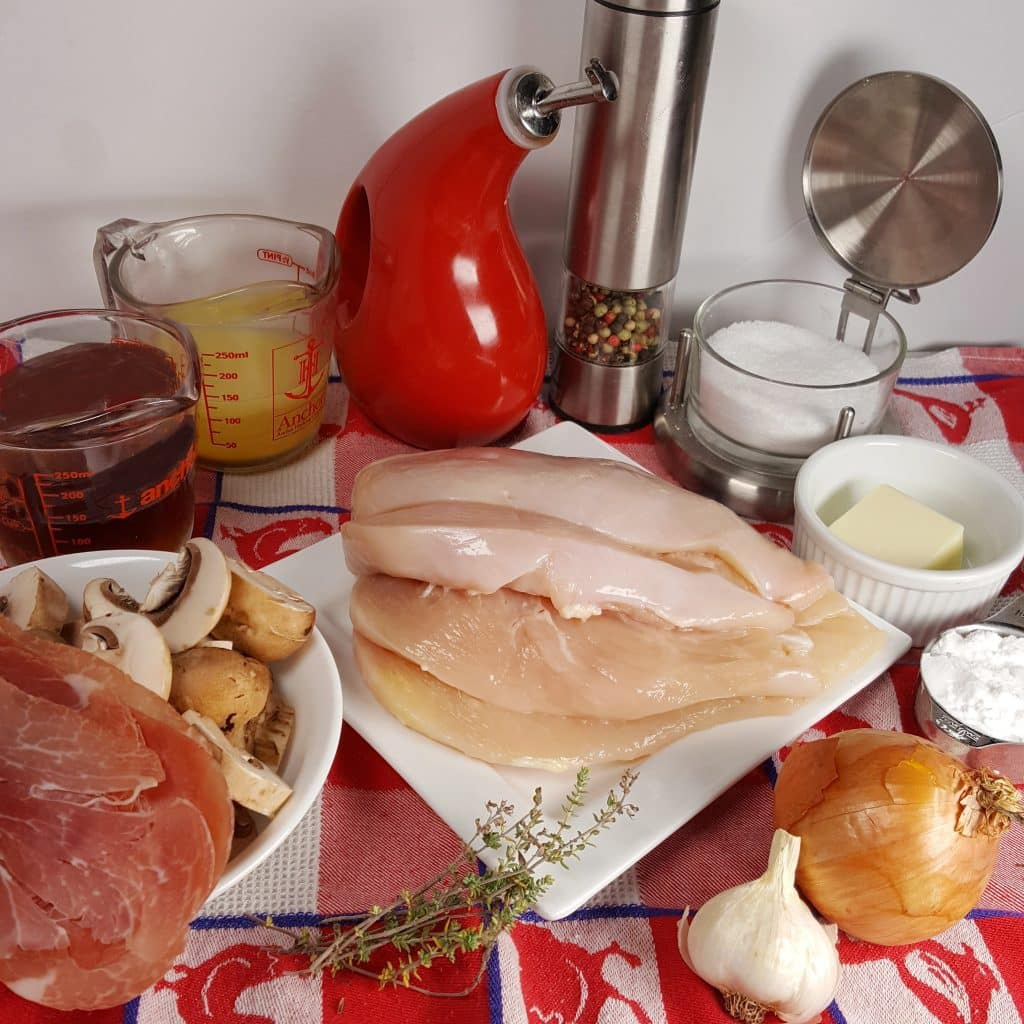 Cast of Ingredients for Instant Pot Italian Chicken Dry Marsala Wine