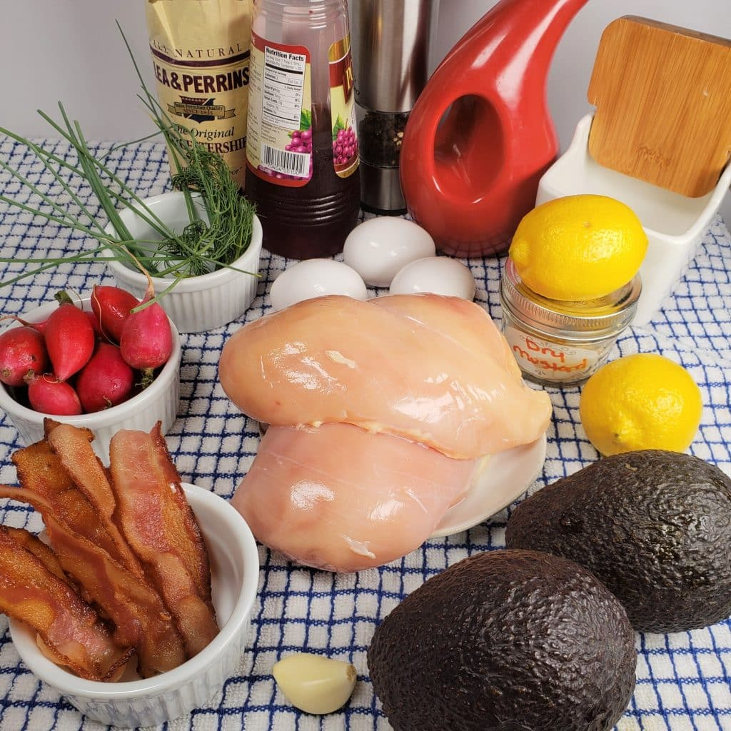 Cast of Ingredients for Instant Pot Avocado Chicken Salad