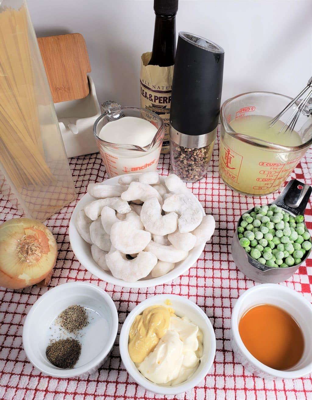 Cast of Ingredients for Instant Pot Shrimp Dijon Pasta