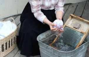Demonstrated old fashioned washing methods.