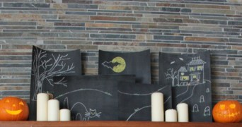 Cardboard chalkboards and candles with cute little pumpkins