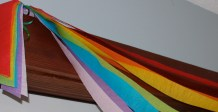 Tissue Rainbow banners (these actually took a long time to evenly hang!)
